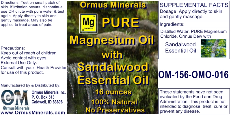 Ormus Minerals Pure Magnesium Oil with Sandalwood Essential Oil